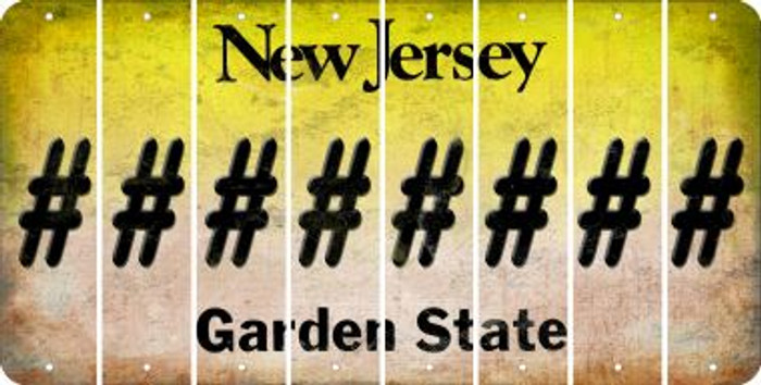 New Jersey HASHTAG Cut License Plate Strips (Set of 8) LPS-NJ1-043