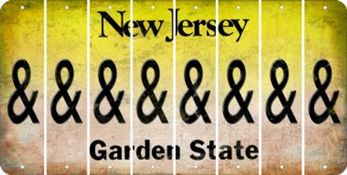 New Jersey AMPERSAND Cut License Plate Strips (Set of 8) LPS-NJ1-049