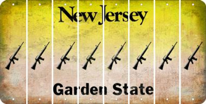 New Jersey M16 RIFLE Cut License Plate Strips (Set of 8) LPS-NJ1-052