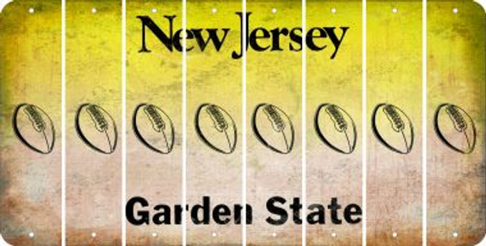 New Jersey FOOTBALL Cut License Plate Strips (Set of 8) LPS-NJ1-060