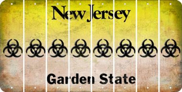 New Jersey BIO HAZARD Cut License Plate Strips (Set of 8) LPS-NJ1-084