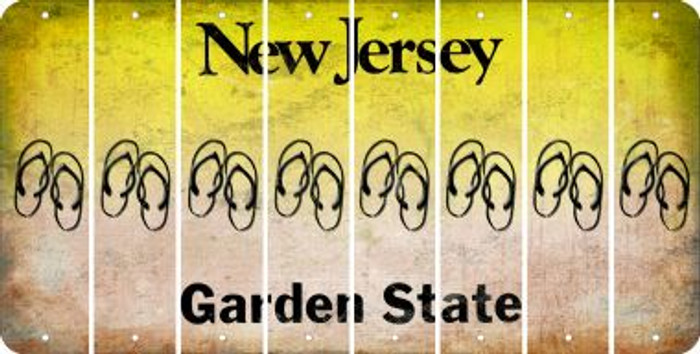 New Jersey FLIP FLOPS Cut License Plate Strips (Set of 8) LPS-NJ1-085