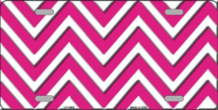 Pink White Chevron Wholesale Metal Novelty License Plate LP-4468