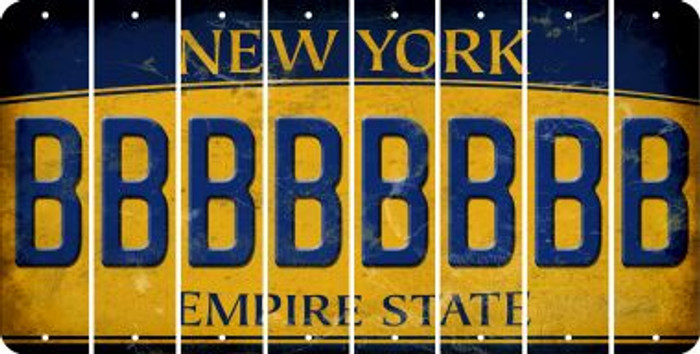 New York B Cut License Plate Strips (Set of 8) LPS-NY1-002