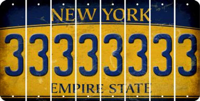New York 3 Cut License Plate Strips (Set of 8) LPS-NY1-030