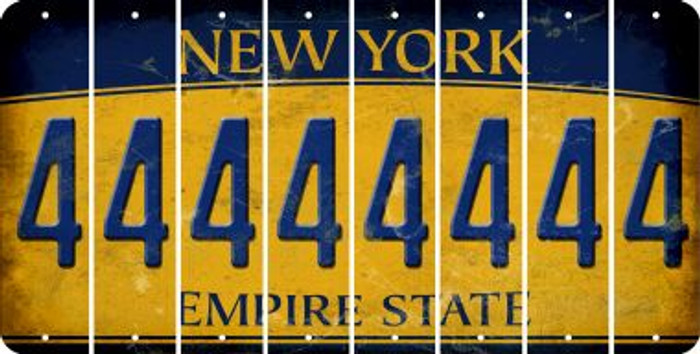 New York 4 Cut License Plate Strips (Set of 8) LPS-NY1-031