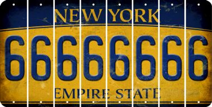 New York 6 Cut License Plate Strips (Set of 8) LPS-NY1-033