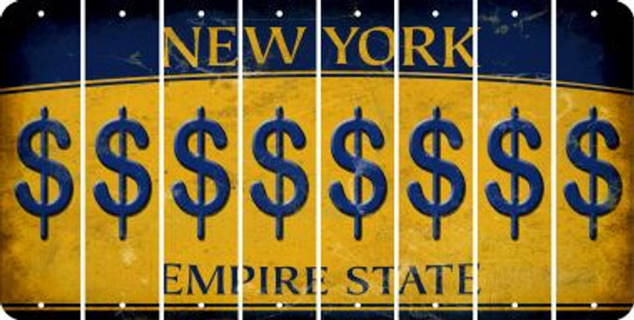 New York DOLLAR SIGN Cut License Plate Strips (Set of 8) LPS-NY1-040