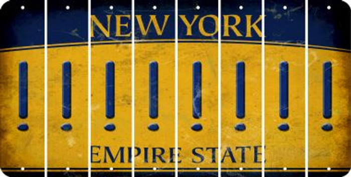 New York EXCLAMATION POINT Cut License Plate Strips (Set of 8) LPS-NY1-041