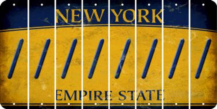 New York FORWARD SLASH Cut License Plate Strips (Set of 8) LPS-NY1-042