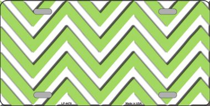 Lime Green White Chevron Wholesale Metal Novelty License Plate LP-4478