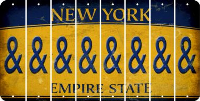 New York AMPERSAND Cut License Plate Strips (Set of 8) LPS-NY1-049