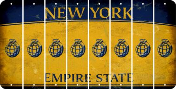 New York HAND GRENADE Cut License Plate Strips (Set of 8) LPS-NY1-050