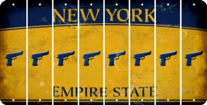 New York HANDGUN Cut License Plate Strips (Set of 8) LPS-NY1-051