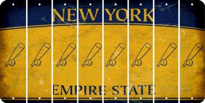 New York BASEBALL WITH BAT Cut License Plate Strips (Set of 8) LPS-NY1-057