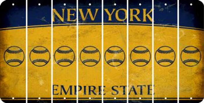 New York BASEBALL / SOFTBALL Cut License Plate Strips (Set of 8) LPS-NY1-063