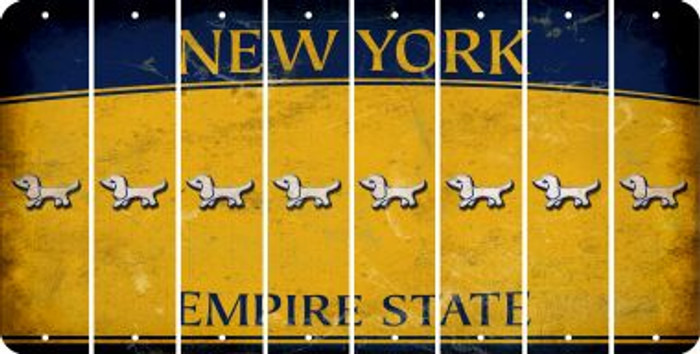 New York DOG Cut License Plate Strips (Set of 8) LPS-NY1-073