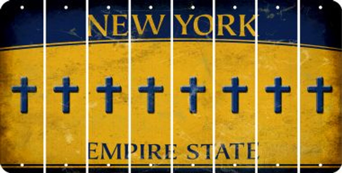 New York CROSS Cut License Plate Strips (Set of 8) LPS-NY1-083