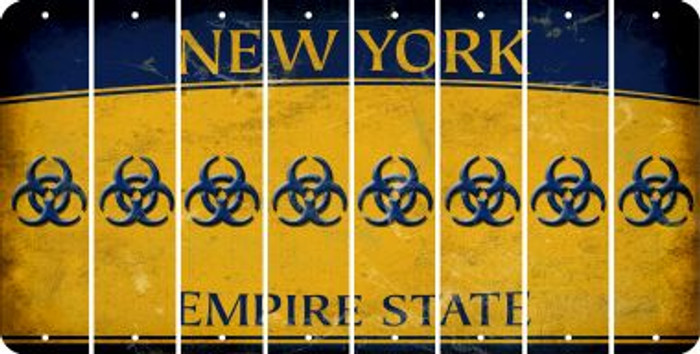 New York BIO HAZARD Cut License Plate Strips (Set of 8) LPS-NY1-084