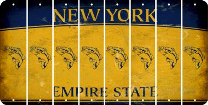 New York FISH Cut License Plate Strips (Set of 8) LPS-NY1-086