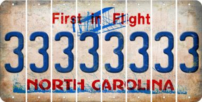 North Carolina 3 Cut License Plate Strips (Set of 8) LPS-NC1-030