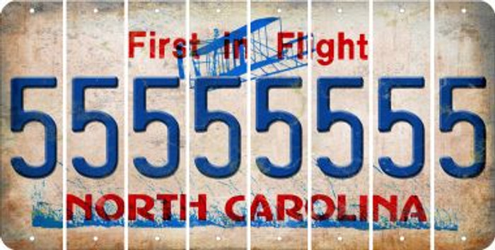 North Carolina 5 Cut License Plate Strips (Set of 8) LPS-NC1-032