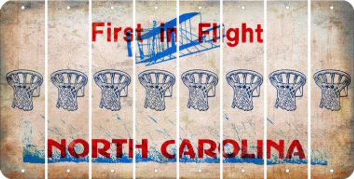 North Carolina BASKETBALL HOOP Cut License Plate Strips (Set of 8) LPS-NC1-058