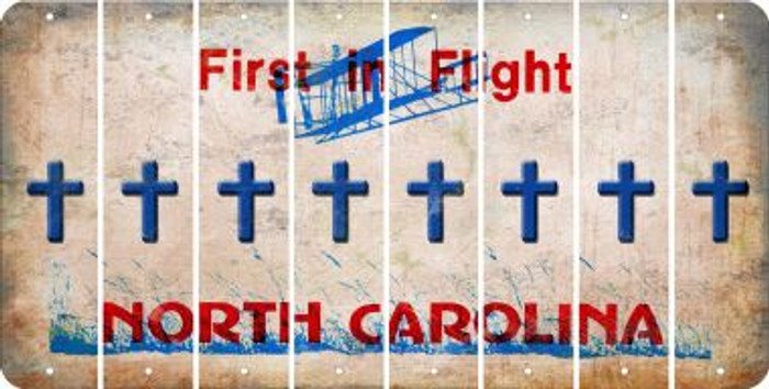 North Carolina CROSS Cut License Plate Strips (Set of 8) LPS-NC1-083