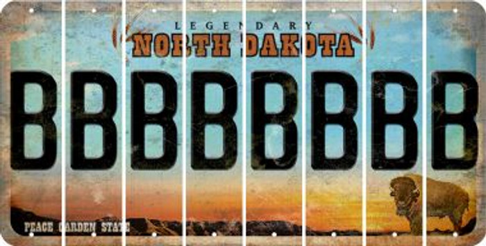 North Dakota B Cut License Plate Strips (Set of 8) LPS-ND1-002