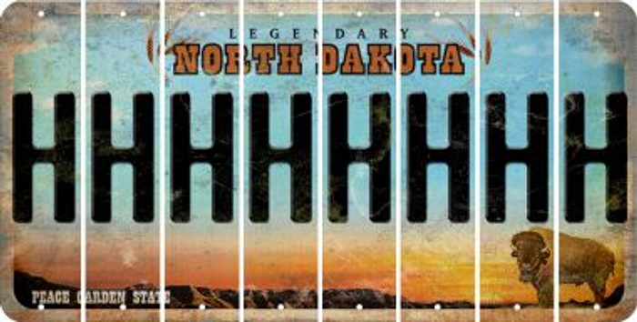 North Dakota H Cut License Plate Strips (Set of 8) LPS-ND1-008