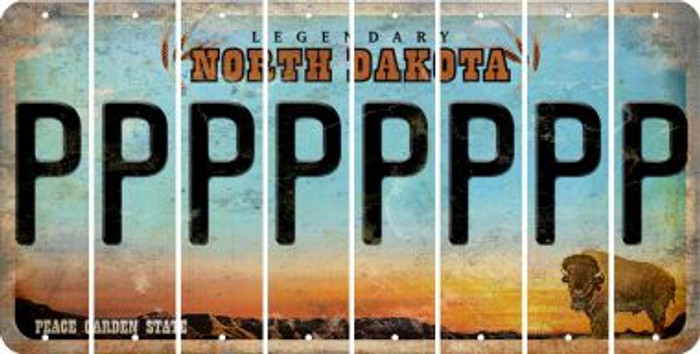 North Dakota P Cut License Plate Strips (Set of 8) LPS-ND1-016