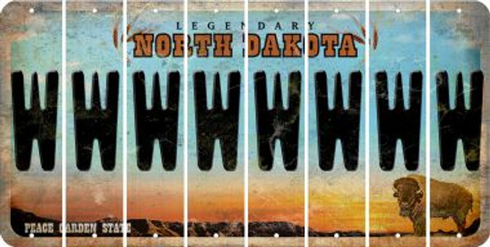 North Dakota W Cut License Plate Strips (Set of 8) LPS-ND1-023