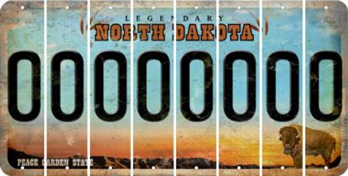 North Dakota 0 Cut License Plate Strips (Set of 8) LPS-ND1-027