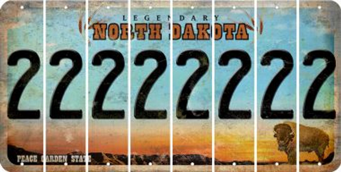 North Dakota 2 Cut License Plate Strips (Set of 8) LPS-ND1-029