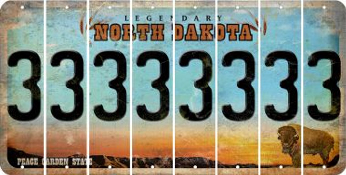 North Dakota 3 Cut License Plate Strips (Set of 8) LPS-ND1-030