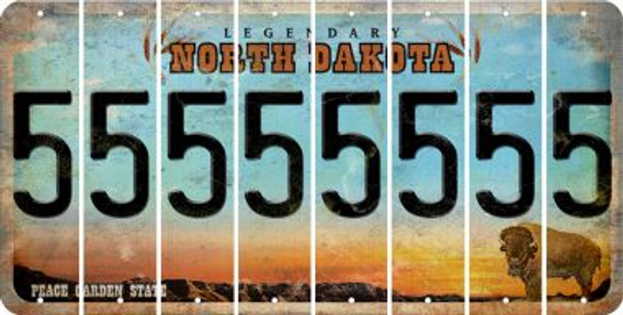 North Dakota 5 Cut License Plate Strips (Set of 8) LPS-ND1-032