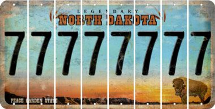North Dakota 7 Cut License Plate Strips (Set of 8) LPS-ND1-034