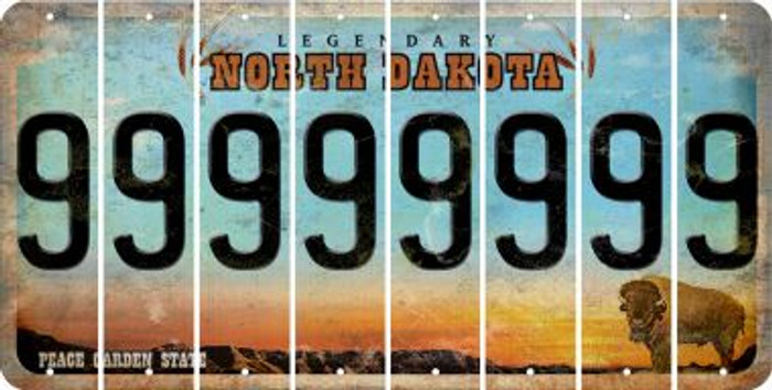 North Dakota 9 Cut License Plate Strips (Set of 8) LPS-ND1-036