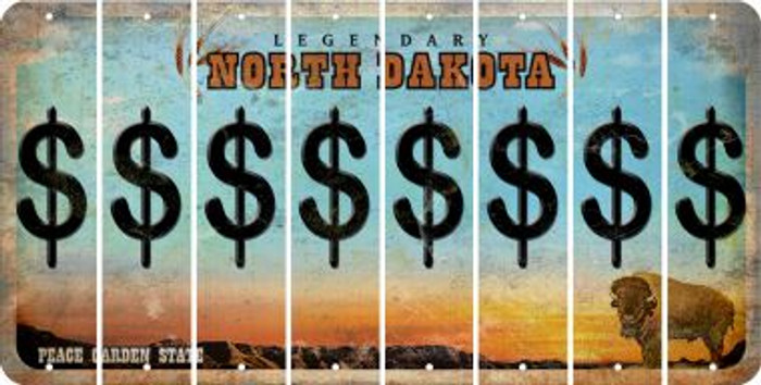 North Dakota DOLLAR SIGN Cut License Plate Strips (Set of 8) LPS-ND1-040