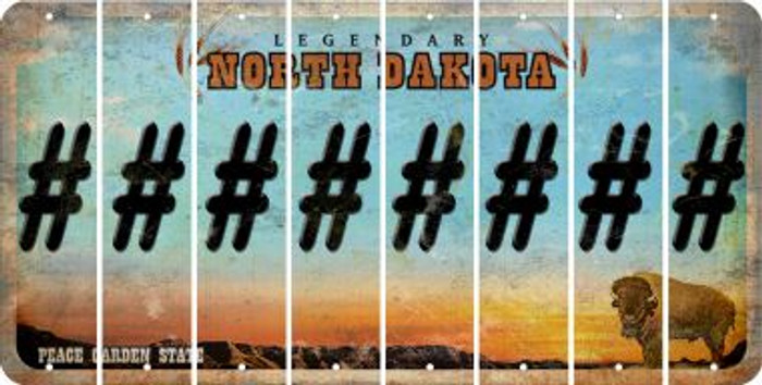 North Dakota HASHTAG Cut License Plate Strips (Set of 8) LPS-ND1-043