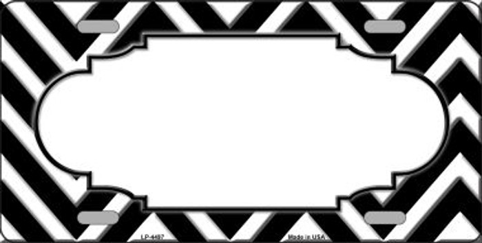 Black White Chevron With Center Scallop Wholesale Metal Novelty License Plate LP-4497