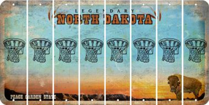 North Dakota BASKETBALL HOOP Cut License Plate Strips (Set of 8) LPS-ND1-058