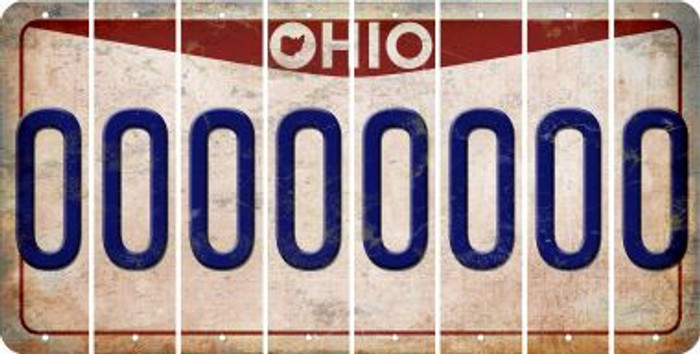 Ohio 0 Cut License Plate Strips (Set of 8) LPS-OH1-027