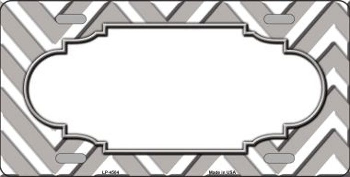 Grey White Chevron Center Scallop Wholesale Metal Novelty License Plate LP-4504
