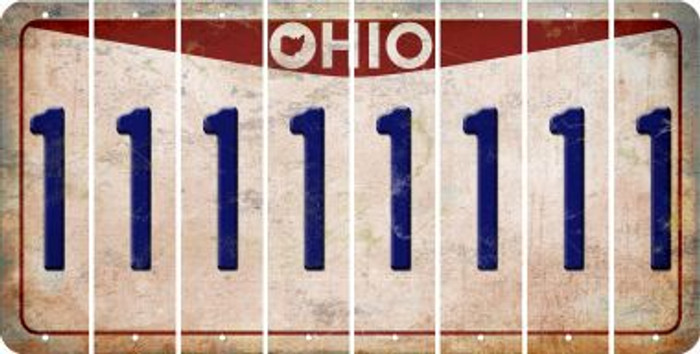 Ohio 1 Cut License Plate Strips (Set of 8) LPS-OH1-028