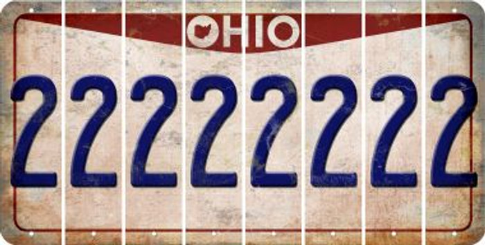 Ohio 2 Cut License Plate Strips (Set of 8) LPS-OH1-029