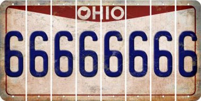 Ohio 6 Cut License Plate Strips (Set of 8) LPS-OH1-033