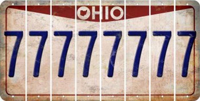 Ohio 7 Cut License Plate Strips (Set of 8) LPS-OH1-034