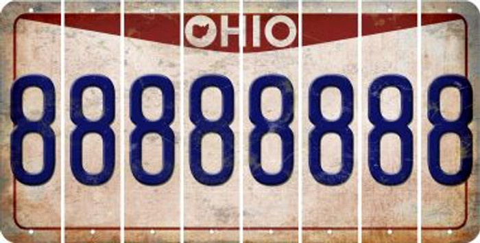 Ohio 8 Cut License Plate Strips (Set of 8) LPS-OH1-035