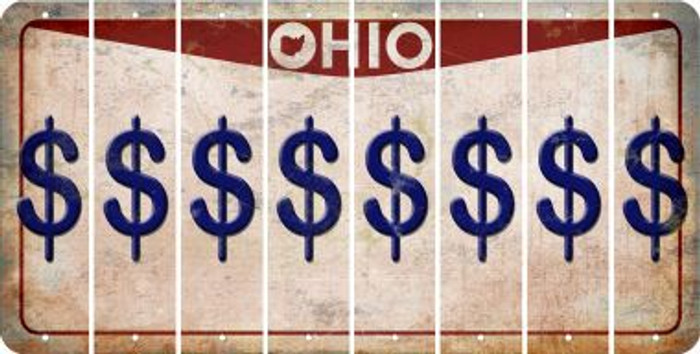 Ohio DOLLAR SIGN Cut License Plate Strips (Set of 8) LPS-OH1-040